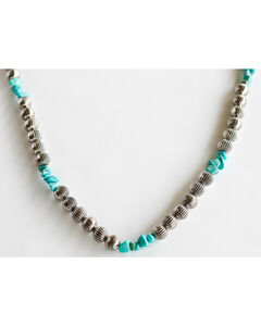 West & Co. Women's Burnished Silver Melon Bead Turquoise Stone Necklace, Silver, hi-res