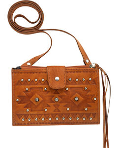 American West Women's Foldover Crossbody Bag, Tan, hi-res