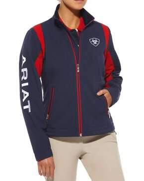 Ariat Women's Team Logo Softshell Jacket, Navy, hi-res
