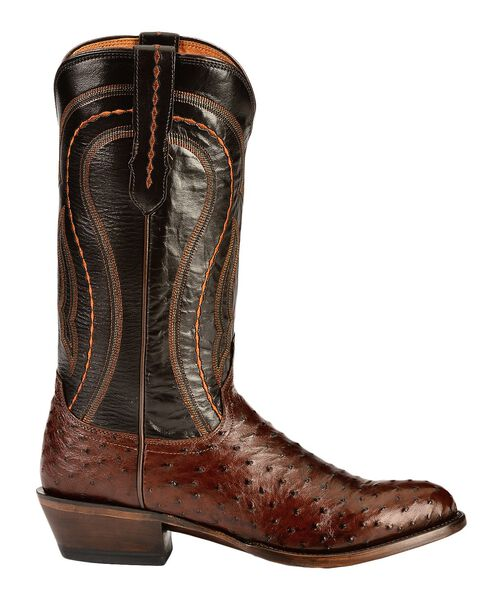Lucchese Handcrafted 1883 Full Quill Ostrich Drosseto Boots - Round Toe, Sienna, hi-res