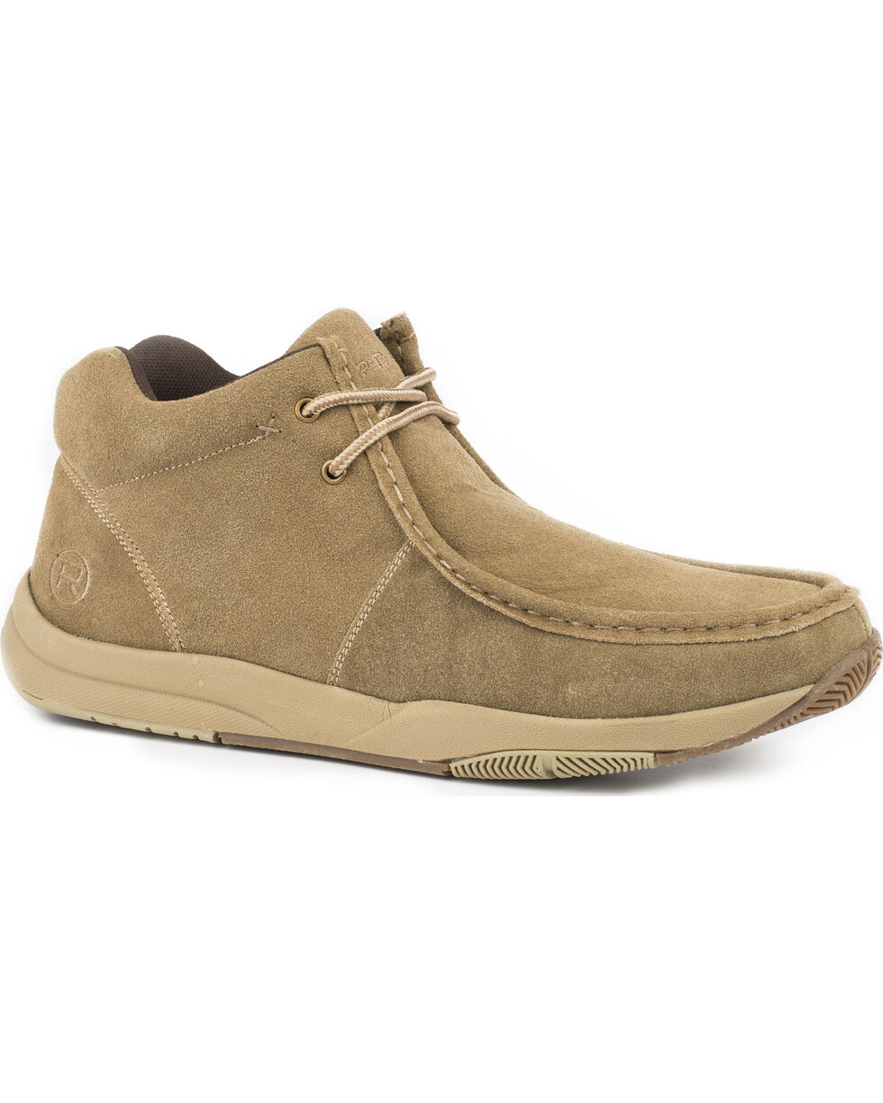 Roper Men's Clearcut Suede Leather Swifter Sole Chukka Shoes - Moc Toe, Tan, hi-res