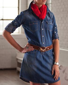 Ryan Michael Women's Long Sleeve Stone Wash Shirt Dress, Indigo, hi-res