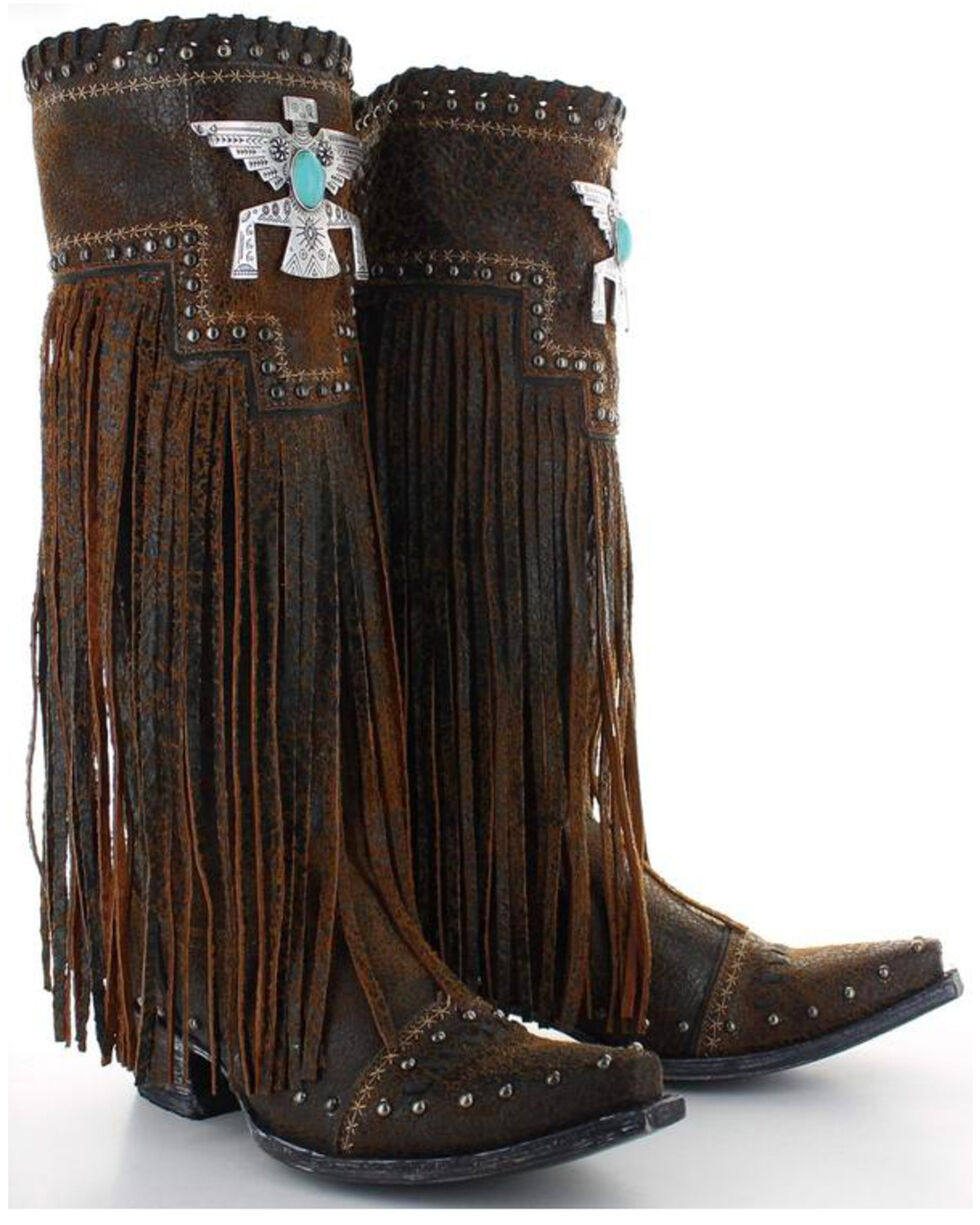 Old Gringo Double D Ranch Women's Thunderbeing Fringe Cowgirl Boots - Snip Toe, Brown, hi-res
