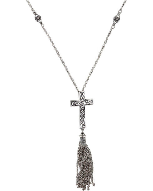 Shyanne Women's Filigree Cross Necklace, Silver, hi-res