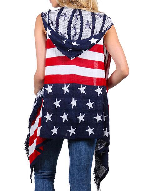 American Attitude Women's Hooded Americana Vest, Red/white/blue, hi-res