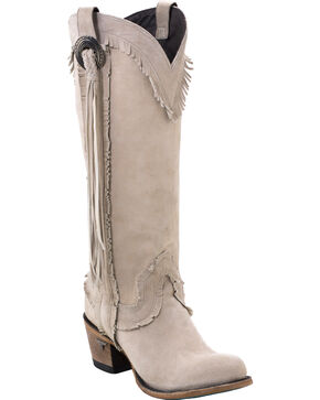 Lane Women's Sierra Fringe Boots -  Round Toe , Cream, hi-res