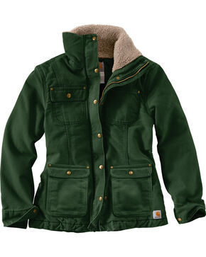 Carhartt Women's Forest Green Weathered Duck Wesley Coat , Forest Green, hi-res