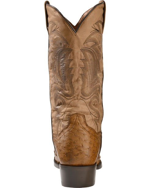Dan Post Tempe Full Quill Ostrich Cowboy Boots - Round Toe, Saddle Tan, hi-res