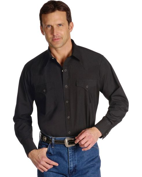 Ely Solid Classic Western Shirt - Custom Fit, Neck & Sleeve Sizing, Black, hi-res