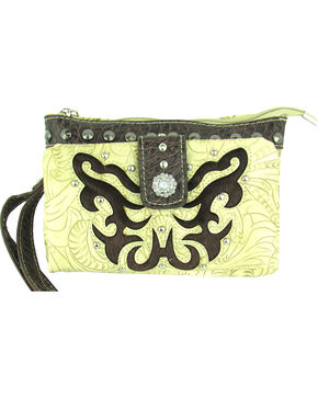 Savana Women's Ivory Tooled Crossbody/Wristlet with Hair Inlay, Ivory, hi-res