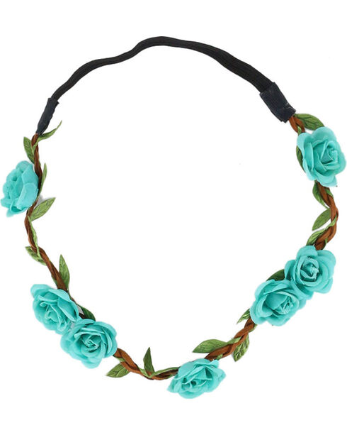 Shyanne Women's Turquoise Mini Rose Headband , Turquoise, hi-res