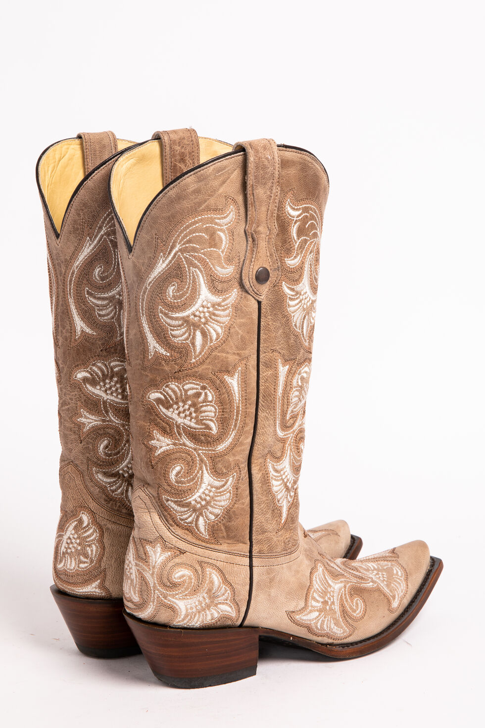 Corral Bone Floral Embroidered Cowgirl Boots - Snip Toe, Bone, hi-res