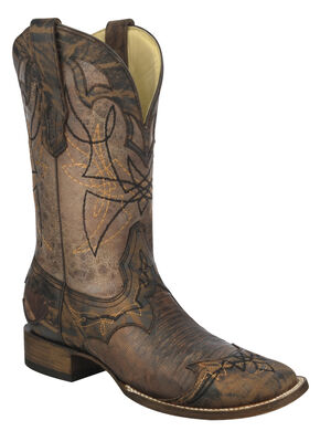 Corral Distressed Lizard Cowboy Boots - Wide Square Toe, Distressed, hi-res