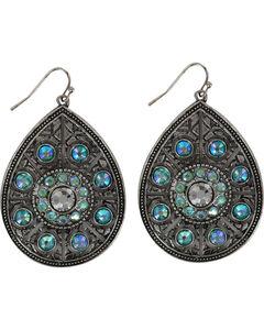 Shyanne Women's Turquoise Crystal Teardrop Earrings, Silver, hi-res