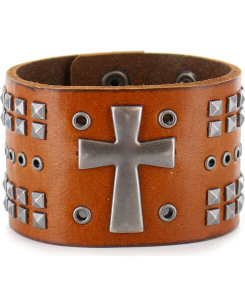 Moonshine Spirit Men's Cross Leather Cuff, Brown, hi-res
