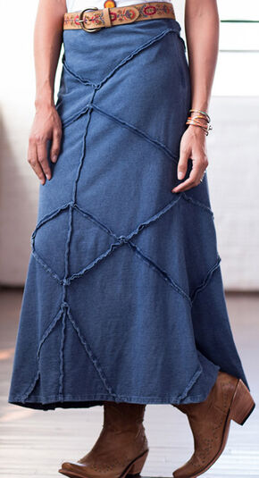 Ryan Michael Indigo Pieced Raw Edge Skirt, Indigo, hi-res