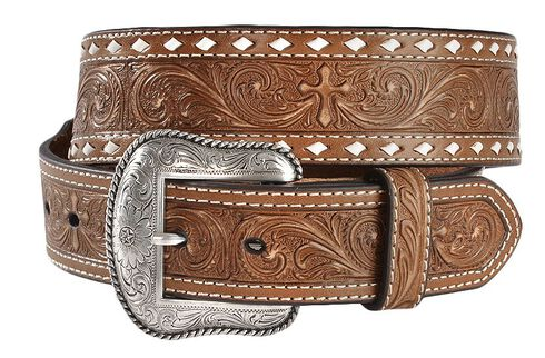 Nocona Embossed Cross Western Belt, Brown, hi-res
