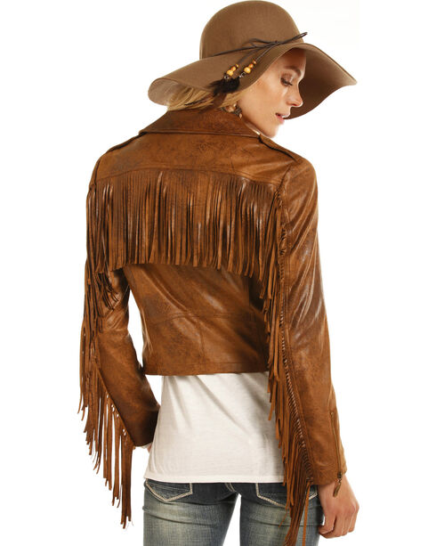Powder River Outfitters Women's Faux Suede Moto Jacket, Brown, hi-res