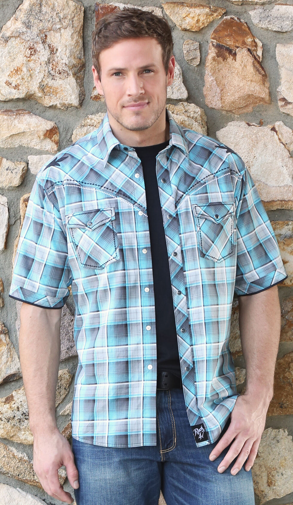 Wrangler Rock 47 Men's Teal Snap Plaid Shirt, Teal, hi-res
