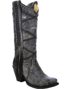 Corral Women's Braided with Fringe Cowgirl Boots - Snip Toe, , hi-res