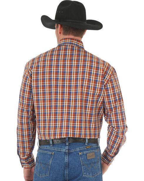 Wrangler George Strait Men's Chestnut/Blue Poplin Plaid Snap Shirt, Tan, hi-res