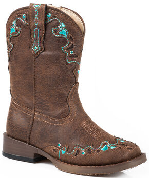 Roper Toddler Girls' Brown Vintage Crystal Cowgirl Boots - Square Toe  , Brown, hi-res