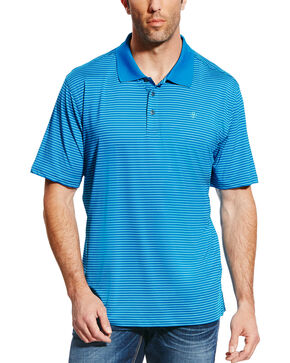 Ariat Men's AriatTEK Mini Stripe Performance Stretch Polo, Blue, hi-res