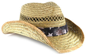 Cody James American Flag Straw Hat, Natural, hi-res