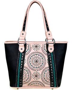 Montana West Women's Cut-Out Matching Inlay Concealed Carry Handbag , Black, hi-res