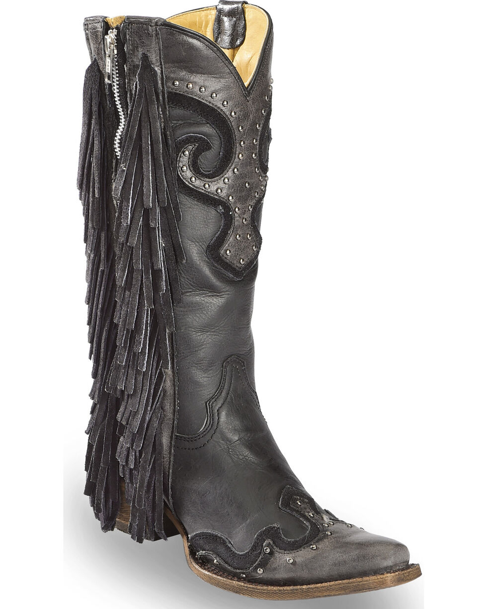 Corral Women's Black Studded Fringe Cowgirl Boots - Snip Toe , Black, hi-res