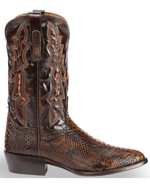 Dan Post Men's Chocolate Back Cut Python Cowboy Boots - Round Toe, Chocolate, hi-res