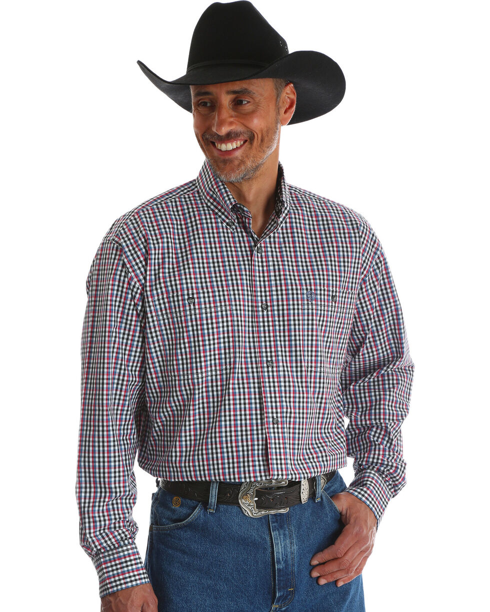 Wrangler Men's George Strait Black Plaid Double Pocket Shirt , Black, hi-res