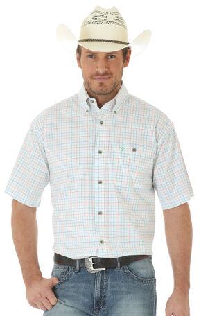 Wrangler 20X Men's Short Sleeve Plaid Button Shirt, Orange, hi-res