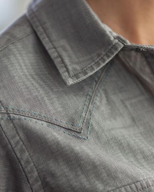 Ryan Michael Women's Aztec Denim Print Shirt, Grey, hi-res