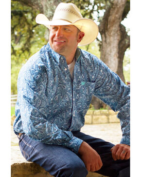 Cinch Men's Blue Paisley Print Long Sleeve Shirt, Blue, hi-res