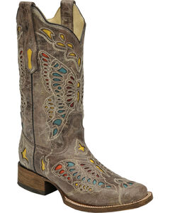 Corral Women's Taupe Butterfly Cowgirl Boots - Square Toe, , hi-res