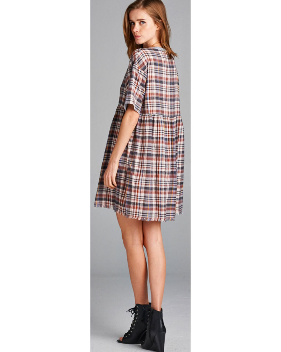 Hyku Women's Plaid Button Up Dress, Red, hi-res