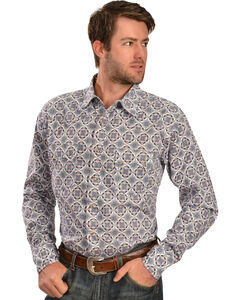 Wrangler 20X Men's Blue & White Print Long Sleeve Snap Shirt, Blue, hi-res