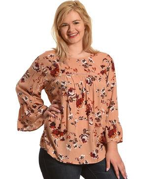 Eyeshadow Women's Pink Floral Peasant Blouse - Plus Size , Pink, hi-res