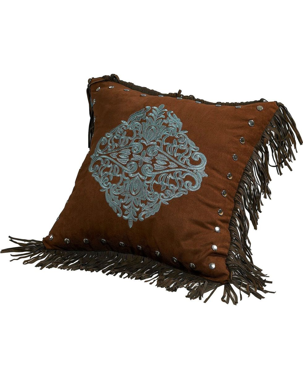 HiEnd Accents Bianca II Embroidered Tassle Pillow, Brown, hi-res