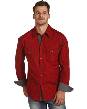 Rock & Roll Cowboy Men's Red Poplin Paisley Print Shirt , Red, hi-res