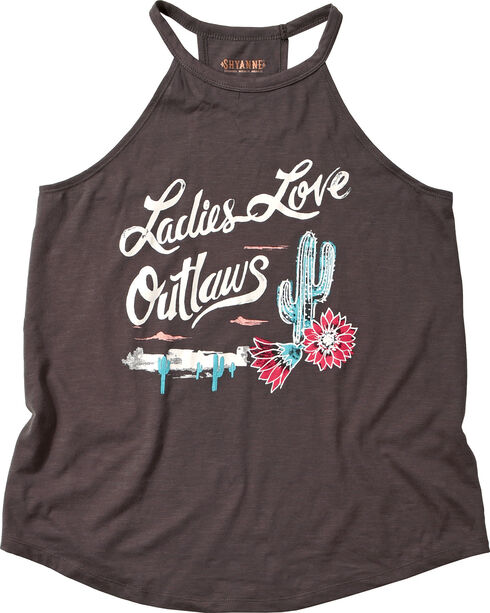 "Shyanne Women's ""Ladies Love Outlaws"" Halter Top, Charcoal, hi-res"