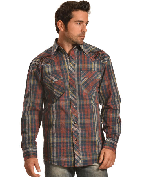 Crazy Cowboy Men's Distressed Plaid Embroidered Western Snap Shirt , Black, hi-res