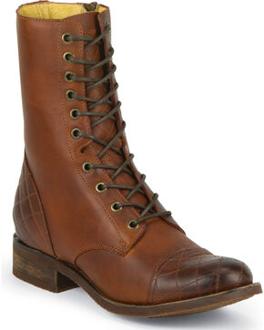 """Justin Women's Bay Apache 8"""" Side-Zip Lace-Up Boots, Bay Apache, hi-res"""