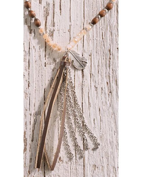 Shyanne Women's Beaded Tassel Necklace, Silver, hi-res