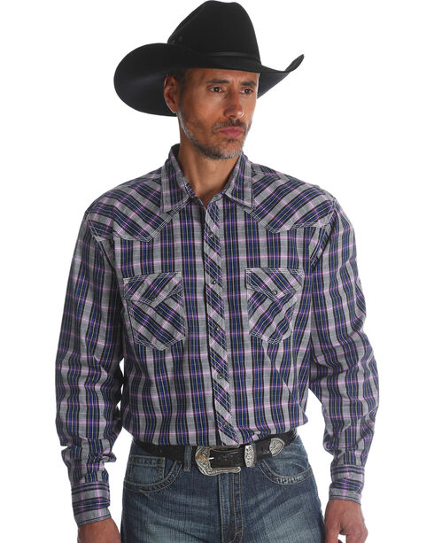 Wrangler Men's Plum 20X Advanced Comfort Competition Shirt - Tall , Purple, hi-res