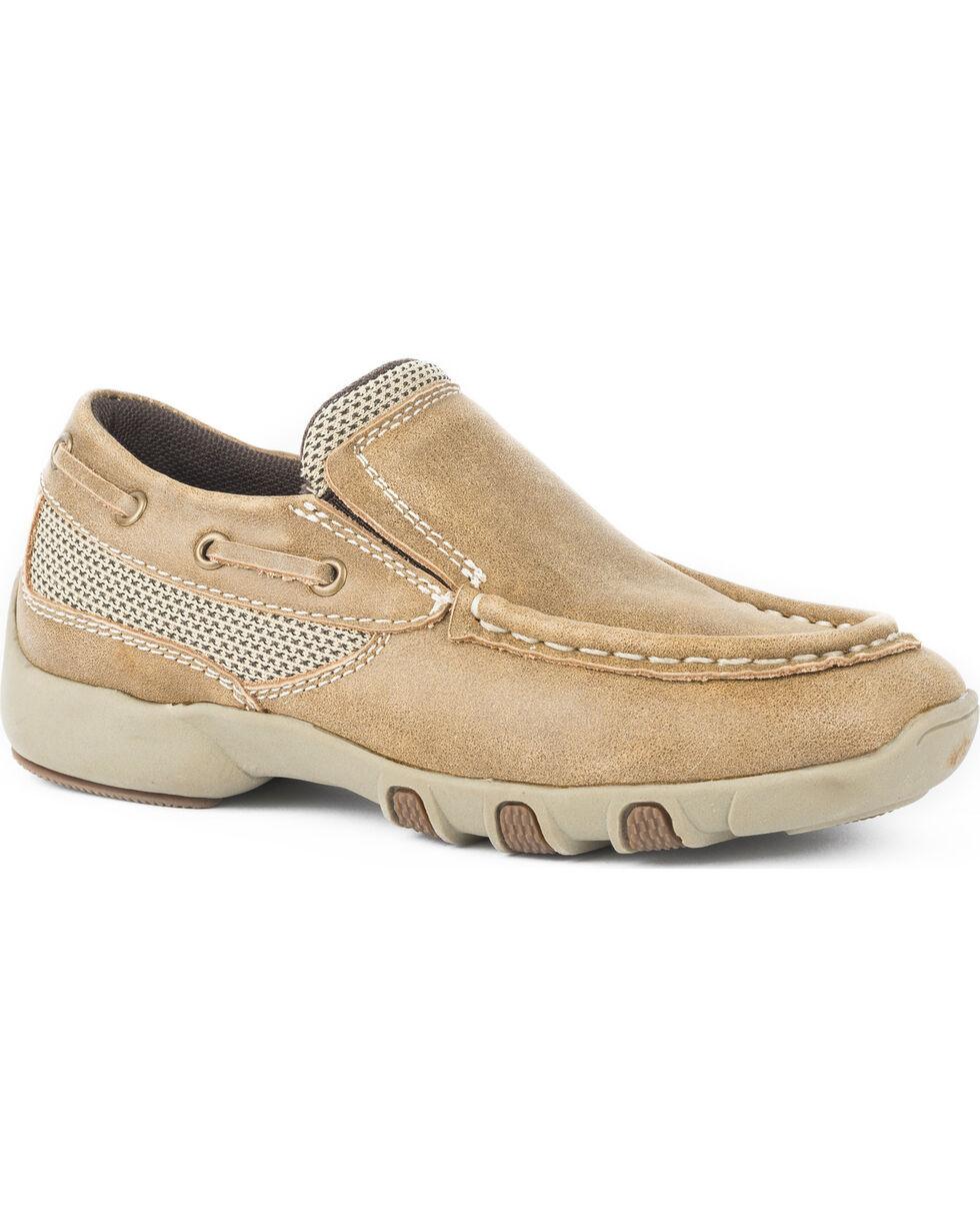Roper Boys' Tan Vintage Leather Mesh Inlay Driving Mocs - Moc Toe, Tan, hi-res