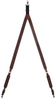 3D Basketweave Buffalo Concho Suspenders - Large, Tan, hi-res