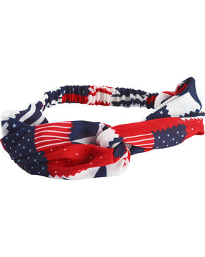 Shyanne Women's Americana Patchwork Knotted Headband, Multi, hi-res