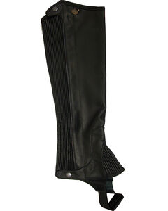 Ovation Women's Pro Top Grain Leather Half Chaps, Black, hi-res